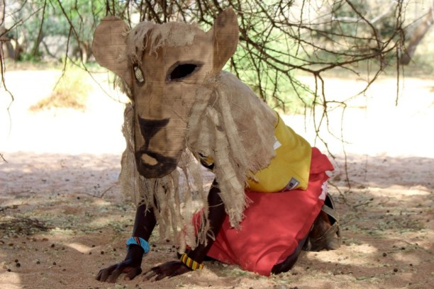 A child dressed as a lion for the wildlife drama. (Photo courtesy of Ewaso Lions)