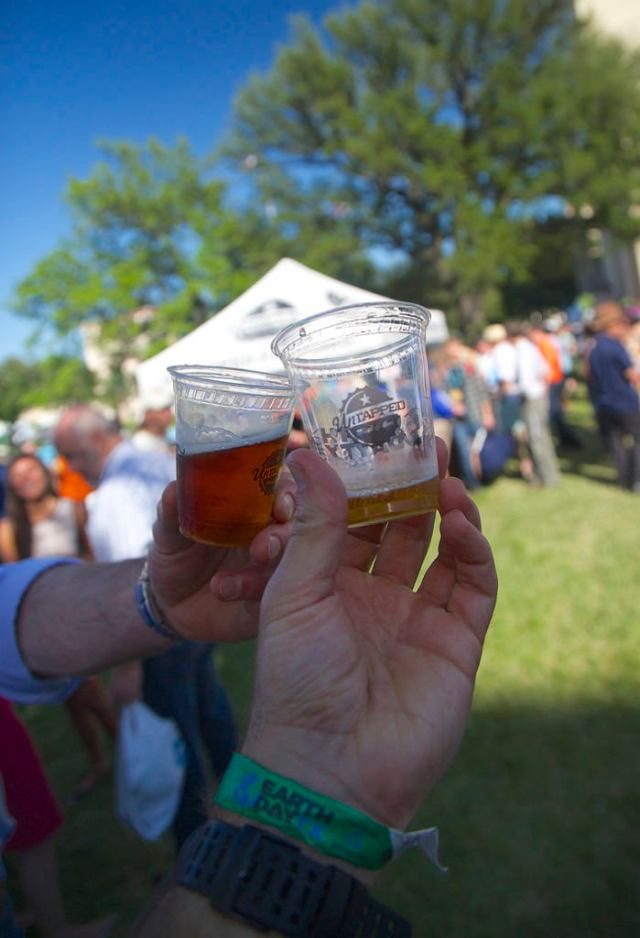 Cheers at the EDTx beer garden. (Photo Credit: Rick Baraff)
