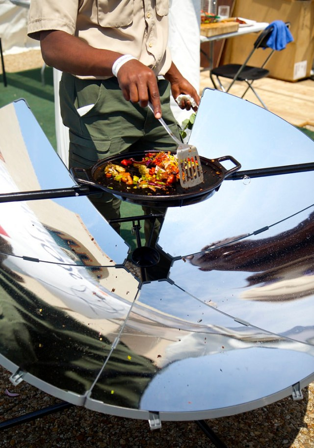 Both a time- and money-saving device, the SolSource solar cooker can heat food without the waste or emissions of a charcoal grill. One of the tastier booths at Earth Day Texas. (Photo Credit: Rick Baraff)
