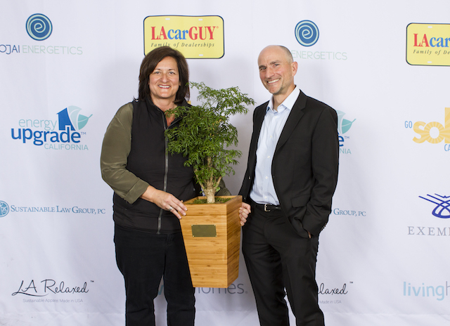 Rose Marcario, President & CEO Patagonia, Inc. with her Award Presenter Steve Glenn, Chair, Sustainable Business Council CEO, LivingHomes. (Photo Credit: Jon Weinberg Photography)