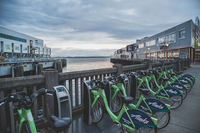 A bike sharing station in the Port of Seattle. (Photo Credit: Tony Webster via WikiMedia Commons)