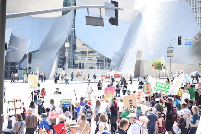 Break Free LA in front of the Walt Disney Concert Hall in downtown Los Angeles. (Photo Credit: Jed Wolf)
