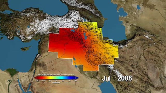 "From NASA: ""Variations in total water storage from normal, in millimeters, in the Tigris and Euphrates river basins, as measured by NASA's Gravity Recovery and Climate Experiment (GRACE) satellites, from January 2003 through December 2009. Reds represent drier conditions, while blues represent wetter conditions. The majority of the water lost was due to reductions in groundwater caused by human activities. By periodically measuring gravity regionally, GRACE tells scientists how much water storage changes over time."" (Image Credit: NASA / UC Irvine / NCAR)"