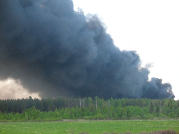 Fire at toxic waste storage site at Krasny Bor, May 24, 2008. (Photo via WikiMedia Commons)