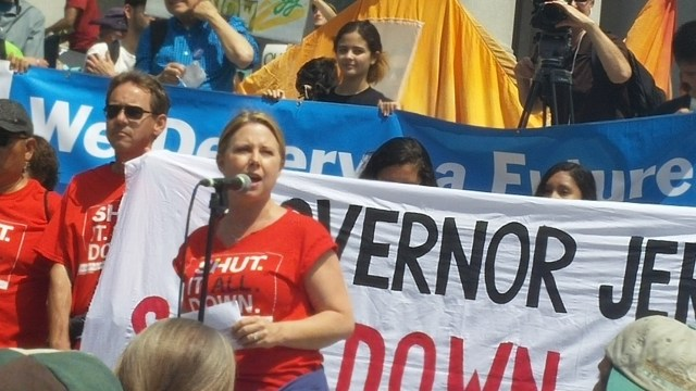 Jennifer Milbauer speaking at the Break Free rally in downtown LA, May 14, 2016. (Photo Credit: Greg Schwartz)
