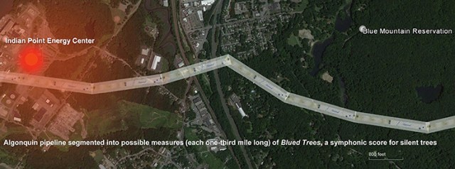 The Algonquin (AIM) pipeline that was the subject of the Blued Trees Symphony Overture was conceptualized as iterated measures of the score from the Blue Mountain Reservation to the infrastructure for the Indian Point nuclear facility, indicated in red to the left of the image, within 105' of the pipeline. (Photo Credit: Aviva Rahmani)