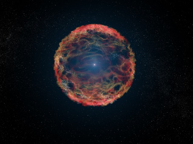 An artist's impression of a super nova that occurred in a binary star system. (Photo: NASA, ESA, G. Bacon (STScI))