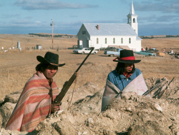 Occupiers on guard at Wounded Knee. (Photo: PBS, We Shall Remain / YouTube)