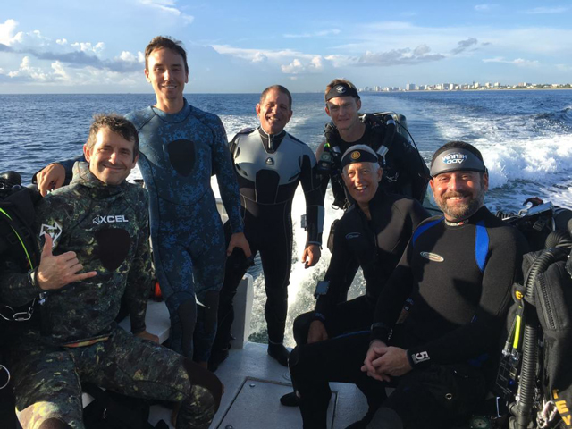 Rob Stewart working on rebreather certification at Add Helium: he is in the blue suit second from left. Standing on his left is Peter Sotis, the instructor.