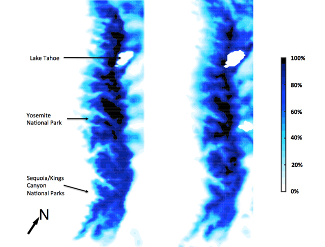 Hall and Berg's computer modeled data (left) closely resembles NASA satellite imagery of actual Sierra Nevada snowpack (right).