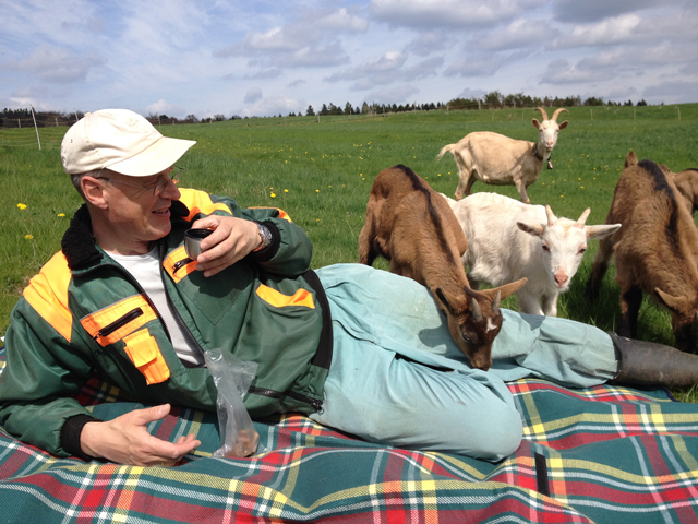 The author, Peter Wohlleben, hanging out with some goats.