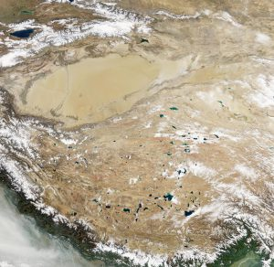 Natural-color image of the Tibetan Plateau. The Qinghai-Tibet Plateau not only gives rise to most of Asia's major rivers, it also holds a constellation of salt- and freshwater lakes. (Photo Credit: Jesse Allen / NASA Earth Observatory)
