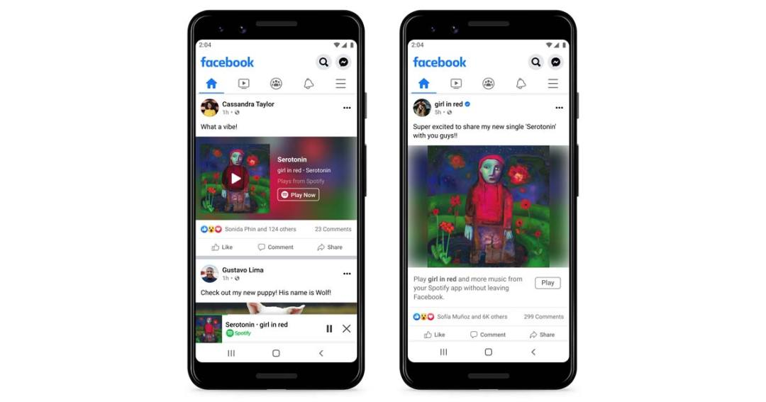 Facebook and Spotify launch mobile miniplayer