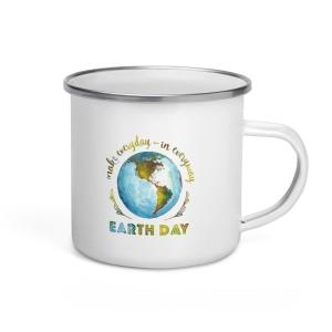 """Make Everyday... Earth Day"" Enamel Mug mockup"