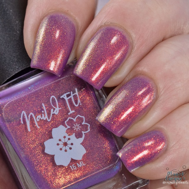 Pictured is a swatch of four fingers painted by Britta in the nail polish Spotted Lady apart of the four piece Secret Garden Collection by Nailed It! Nail Polish.