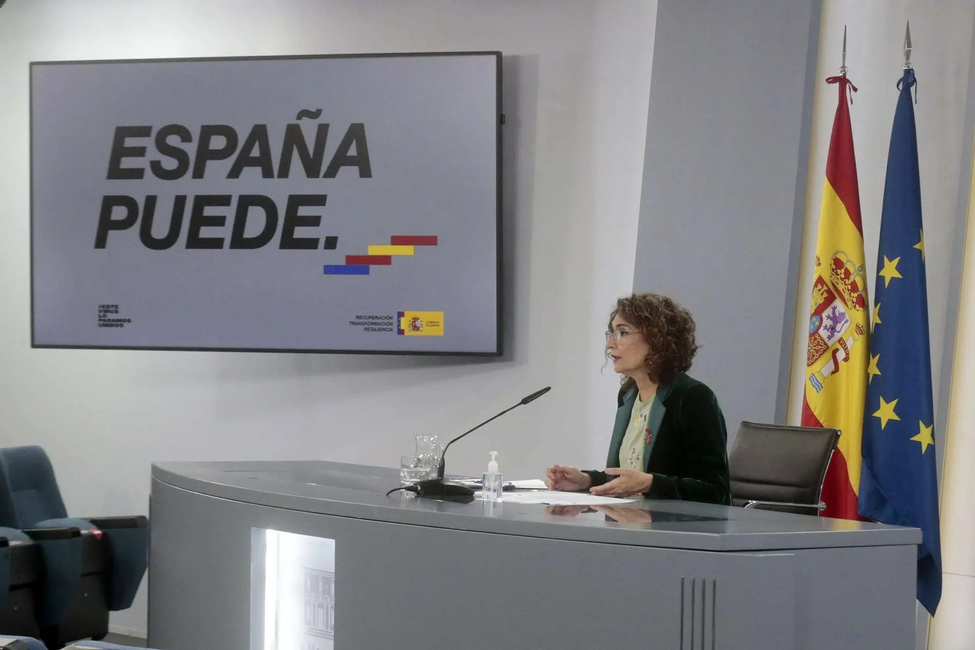 María Jesús Montero at yesterday's Press conference