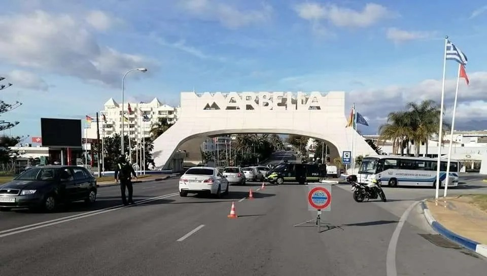 Road check at the entrance to Marbella