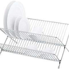 Kitchen Drainer Basket Red Mat Stainless Steel Dish Rack - Folding | Planet Natural