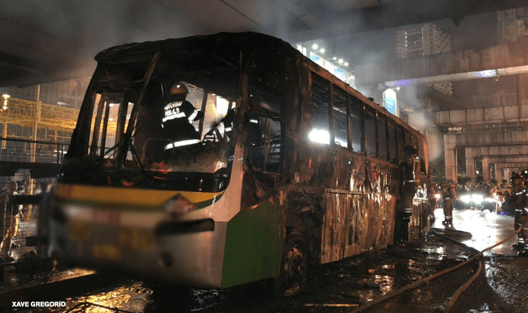 Bus catches fire in EDSA, no one hurt