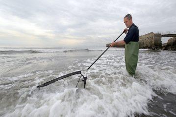 Steve Walker with a push net for shrimps