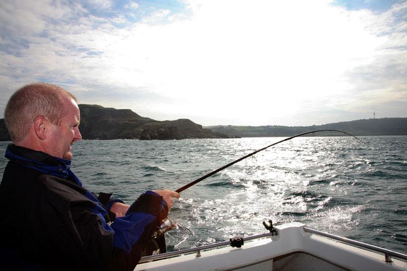 Mark bends into an Alderney fish