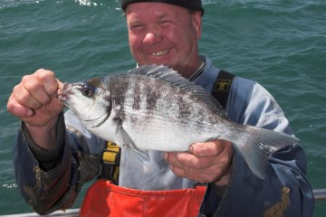 Dickie Leggett with a Littlehampton black bream