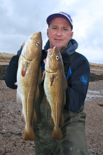 Gordon Lyall with a fine double of winter cod