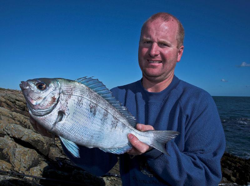 Mark Harding displays an Alderney black bream