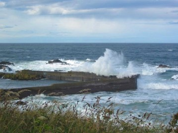 waves pound the harbour at St Abbs