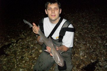 Matt Brook with a shore smoothhound