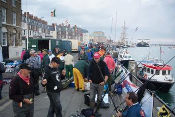 European Boat Championship Weymouth anglers prepare on quay