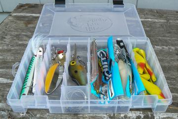 a lure box with contents