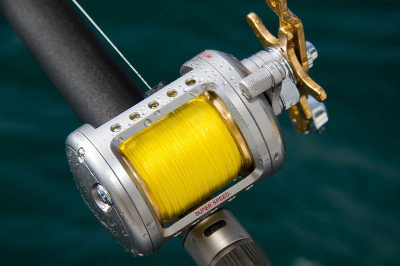 Daiwa Saltist level-wind reel on rod at sea
