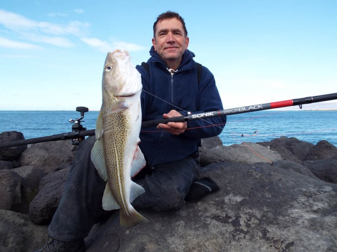 shore fishing Iceland cod for John