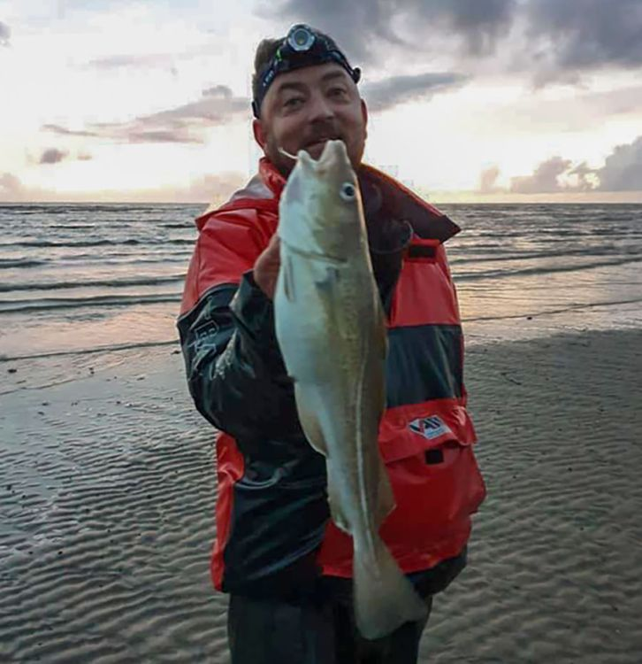 Paul Goodchild with one of five cod he caught on fresh black lugworm
