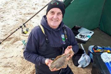 Gordi Hardman with a flounder