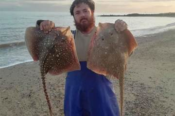 Ben Scammel with a brace of thornback ray