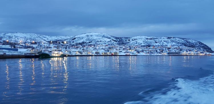 View of Skjervøy as light begins to fade