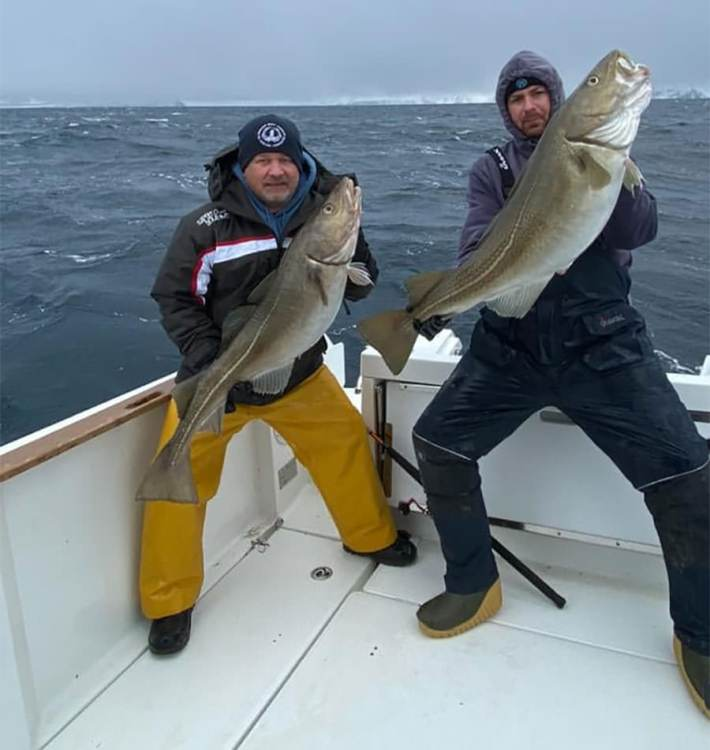 Nigel and James with cod