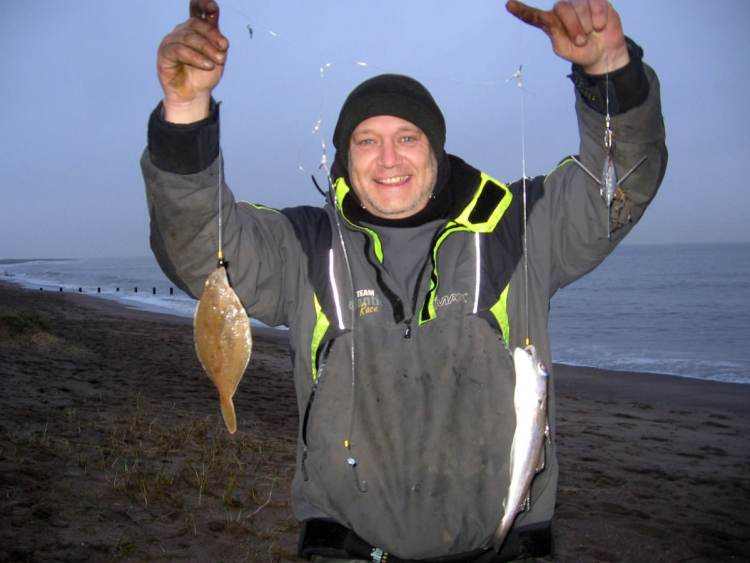 Ian again looking happy with his dab and whiting double shot