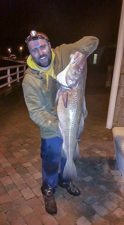 Frankie Costello with 22lb+ cod from the Plymouth shore
