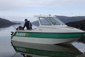 a Raider 18 boat on Luch Sunart