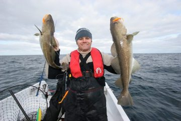 Steve Souter with a double of Scrabster cod