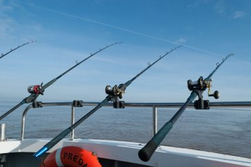 rods in holders after casting uptide