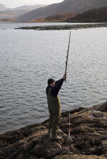 Shaun Cumming casting a thornback ray bait