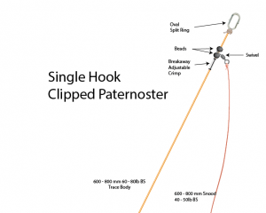 single hook clipped paternoster