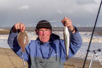 Third placed Chas Tibble with a whiting and dab double