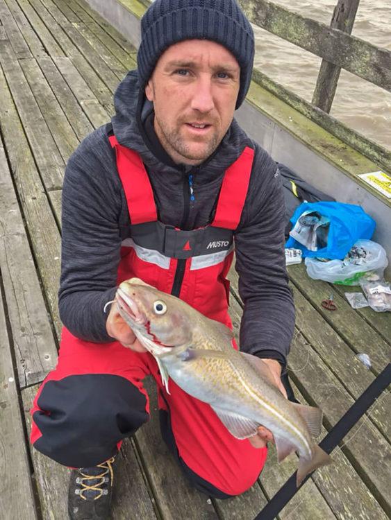 Local angler Daniel Tulip with a fresh run codling