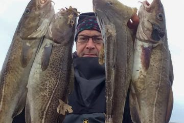 Dave Brown with a batch of codling