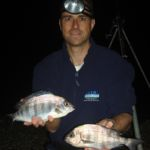 Paul Stevens with a couple of shore caught black bream
